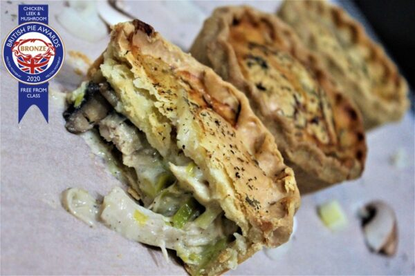 Gluten-free chicken, leek and mushroom pie