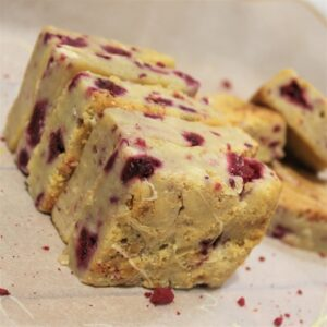 Gluten-free raspberry white chocolate blondie