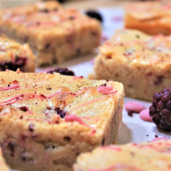 Gluten-free blackberry and ruby chocolate blondie