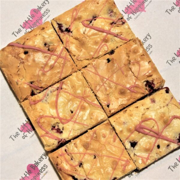 Gluten-free blackberry and ruby chocolate blondies