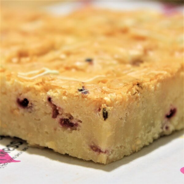 Gluten-free raspberry and white chocolate blondies